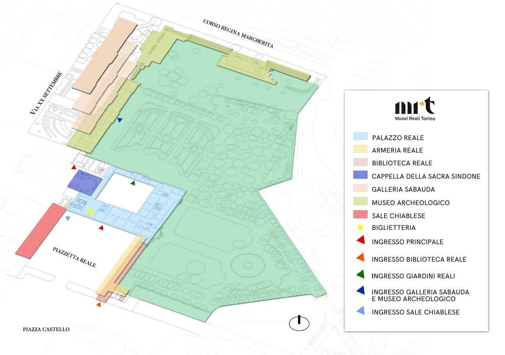 Mappa musei Reali Torino visualizzazione dall'alto