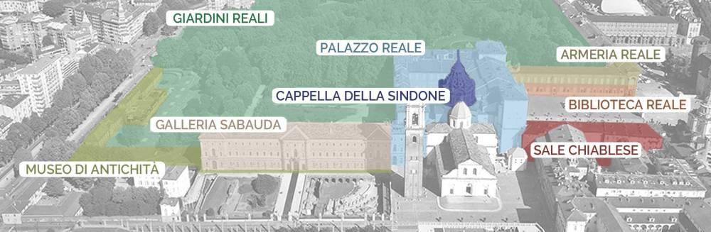 Mappa dei musei reali di Torino